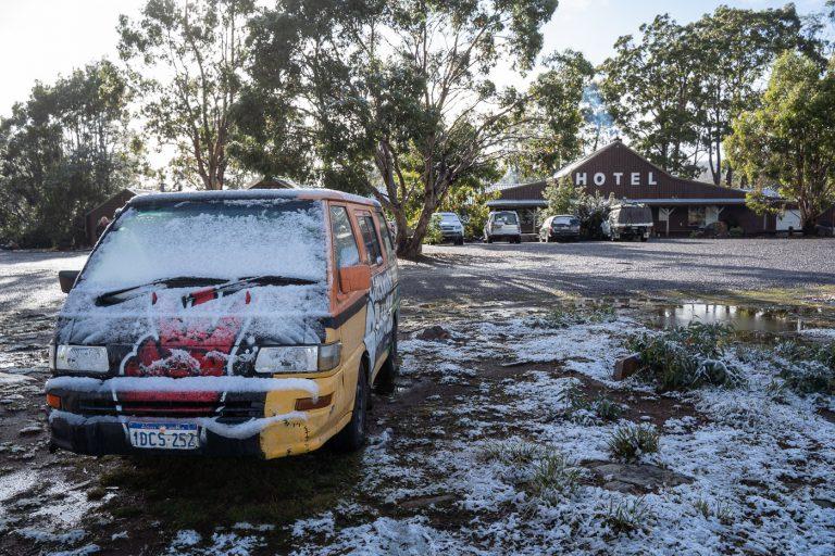 Tasmanien Schnee Campervan
